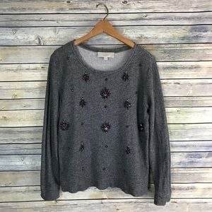 Loft Grey Purple Jeweled Embellished Sweatshirt