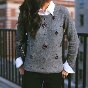 Loft Grey Purple Jeweled Embellished Sweatshirt