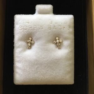 Other - 14K CZ cross earrings (Childrens)