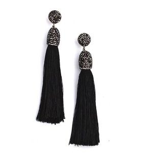 Jewelry - NWT  Pave Capped Silk Tassel Drop Earring