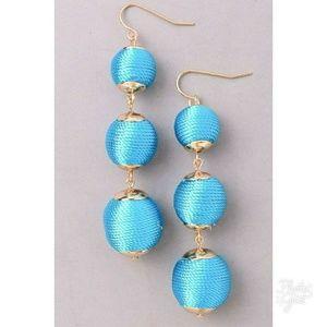Jewelry - Turquoise Thread Ball Earrings