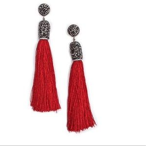 Jewelry - NWT Pave Capped  Silk Tassel Drop Earrings