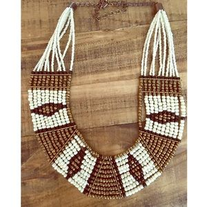 Beaded Black, white and copper bib necklace