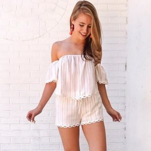 Fringe 'Fall In Line' white and pink striped set