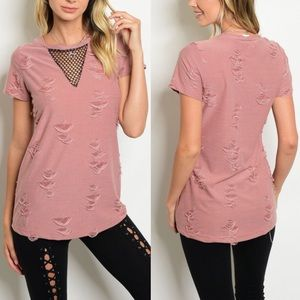 DANNY Distressed Top - BLUSH