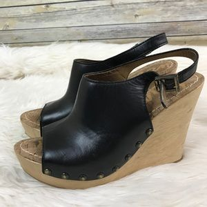 Sam Edelman Camilla Black Wedges Wood Heel Sandals