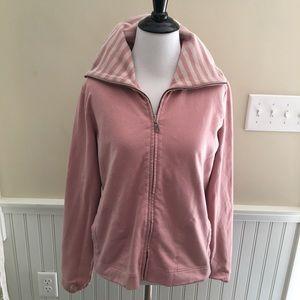 LOFT Zippered Sweatshirt Pink Striped Stretch L