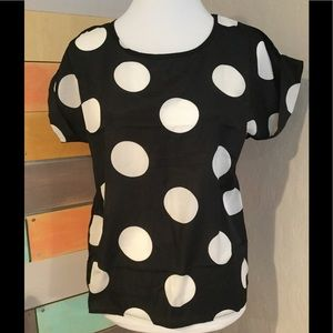 Tops - Women's blouse black and white polka dots
