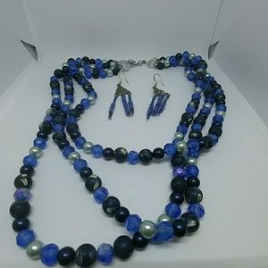 Blue Bead Jewelry Set