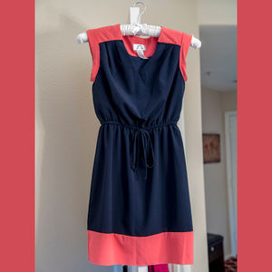 Dresses & Skirts - Navy blue and coral pink mini-dress