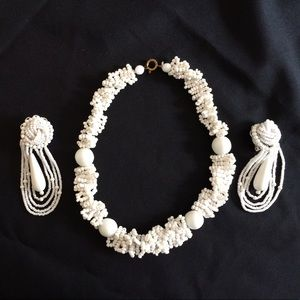 Jewelry - Vintage 50s White  Beaded Necklace Looped Earrings