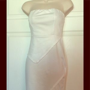 Dresses & Skirts - White Layered Strapless amid Length Dress