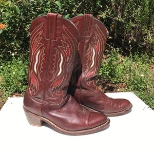 Frye Cowboy Boots 10.5 Brown White Red