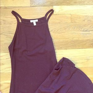 Maroon and black striped stretchy maxi dress