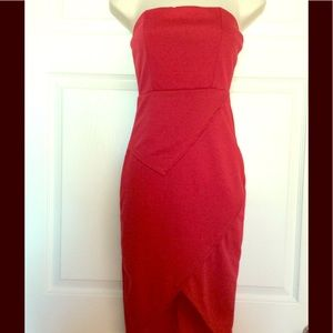 Dresses & Skirts - Red Layered Strapless Mid Length Dress