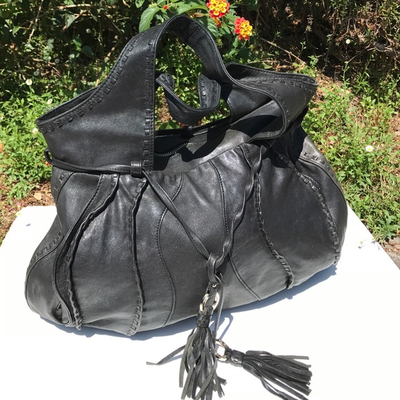 Junior Drake Bags - Junior Drake Black Leather Bag Stitched Tassel