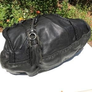 Junior Drake Bags - Junior Drake Black Leather Bag Stitched Tassel