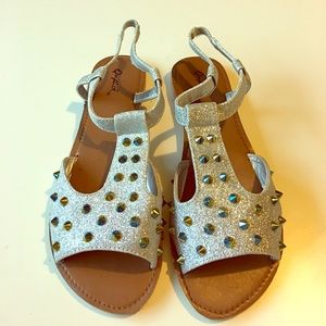 Qupid Silver Sandals with Colorful Spike Studs 8