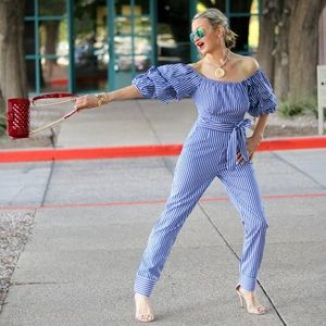 Other - Blue and White Striped OTS Jumpsuit