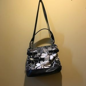 Tommy Hilfiger Black and White Flower Purse