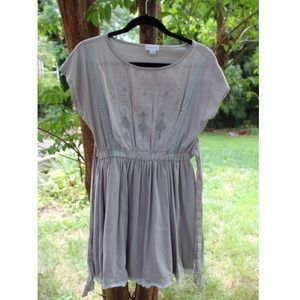 Boutique Grey Embroidered Lace Mini Dress