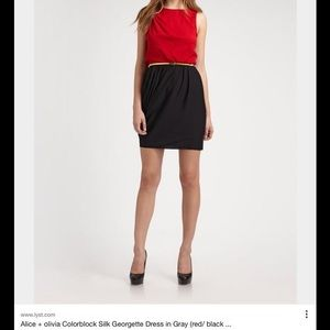 Alice + Olivia Red/Black Gray Color Block Dress
