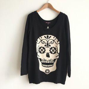 Betsey Johnson Sugar Skull & Spine Sweater Tunic