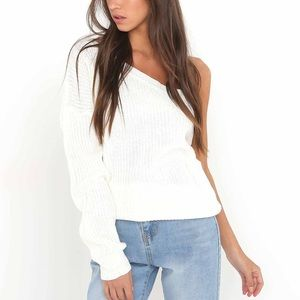 🆕Khole Cream One Shoulder Off the Shoulder Top