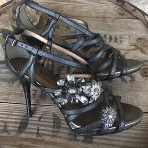 Strappy pewter heels
