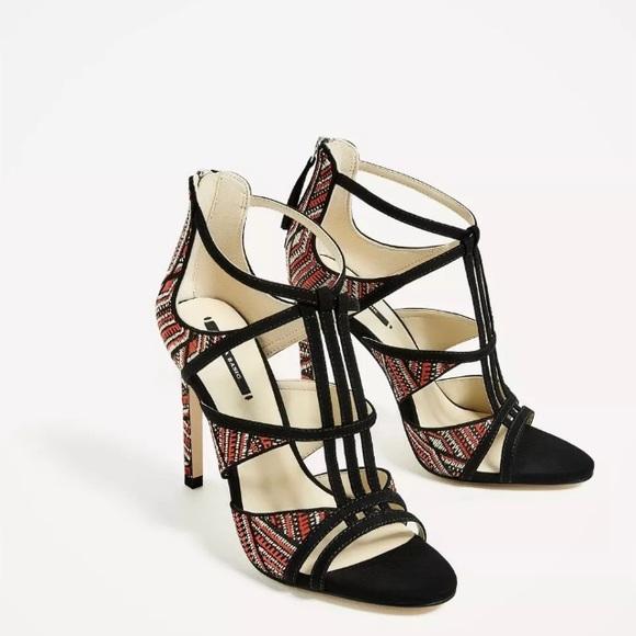 88f59f86f010 ZARA Multicolor Contrast Fabric High Heel Sandals