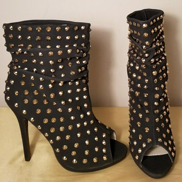 c05c25c69b Charlotte Russe Shoes | Black Studded Peep Toe Booties | Poshmark