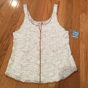 NWT Free People Cream & Tan Crochet Tank