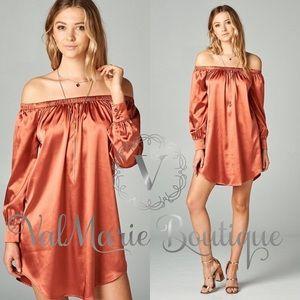 Silky Salmon Elastic Off Shoulder Dress
