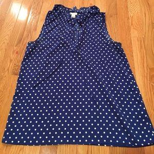 JCrew Blue & White Polka Dot blouse