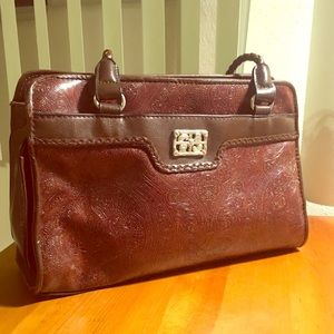 Handbags - Vintage brown tooled faux leather purse