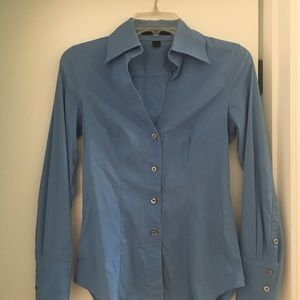 Express business xs blue fitted slim button down