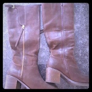 Shoes - Dark Brown tall boots size 10 - leather and suede