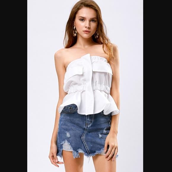 GRLFRND Skirts - ❌SOLD❌storets Jessy distressed denim mini skirt-M