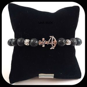 Men or women lava rock silver anchor bead bracelet
