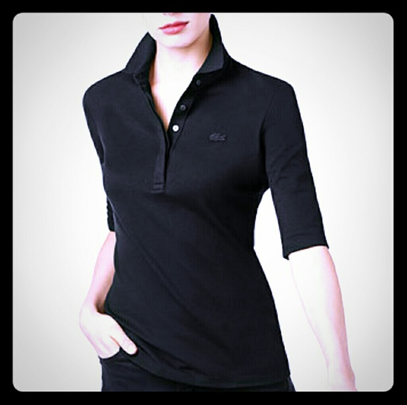 df087d8f Lacoste Tops | 6 Womens Black Polo Shirt | Poshmark
