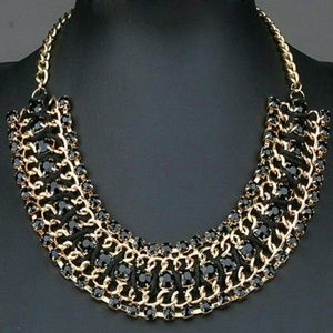 Jewelry - New! Chunky Black Beaded Bib Statement Necklace