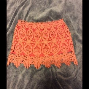 Dresses & Skirts - Coral lace mini skirt