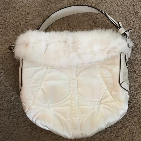 Coach Bags - Beautiful authentic white fur coach purse!