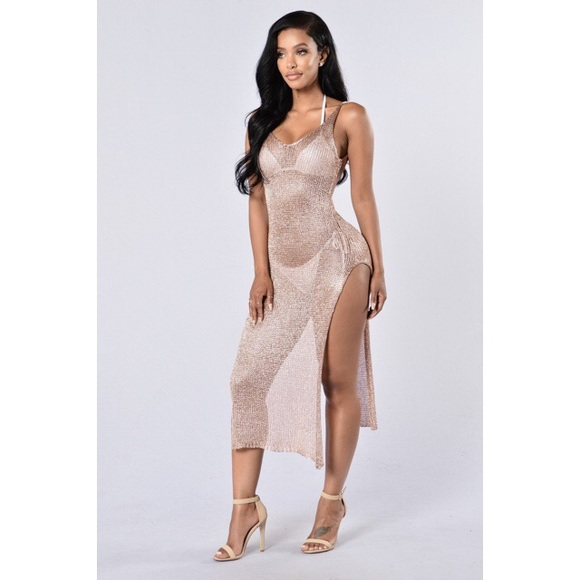 feb838df372 Fashion Nova Other - Fashion Nova Fiji Cover Up Dress Rose Gold