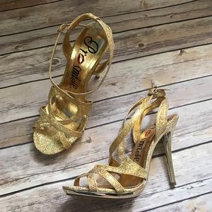 Promise gold strappy heels