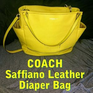 COACH Limon Yellow Saffiano Leather Diaper Bag