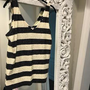 JCrew Navy and White Sequin Striped Shirt Small
