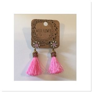 Pink Flower Studs with Pink Tassels