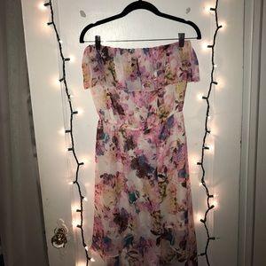 floral strapless hi-low dress