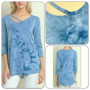 Tops - Sexy Tie Dye Side Strap Tunic Top SML
